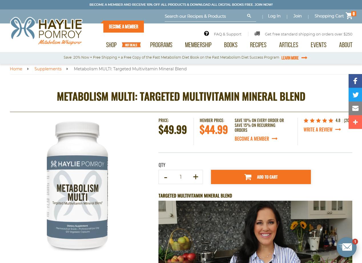 Metabolism Multi-vitamin. Member pricing and subscription savings.