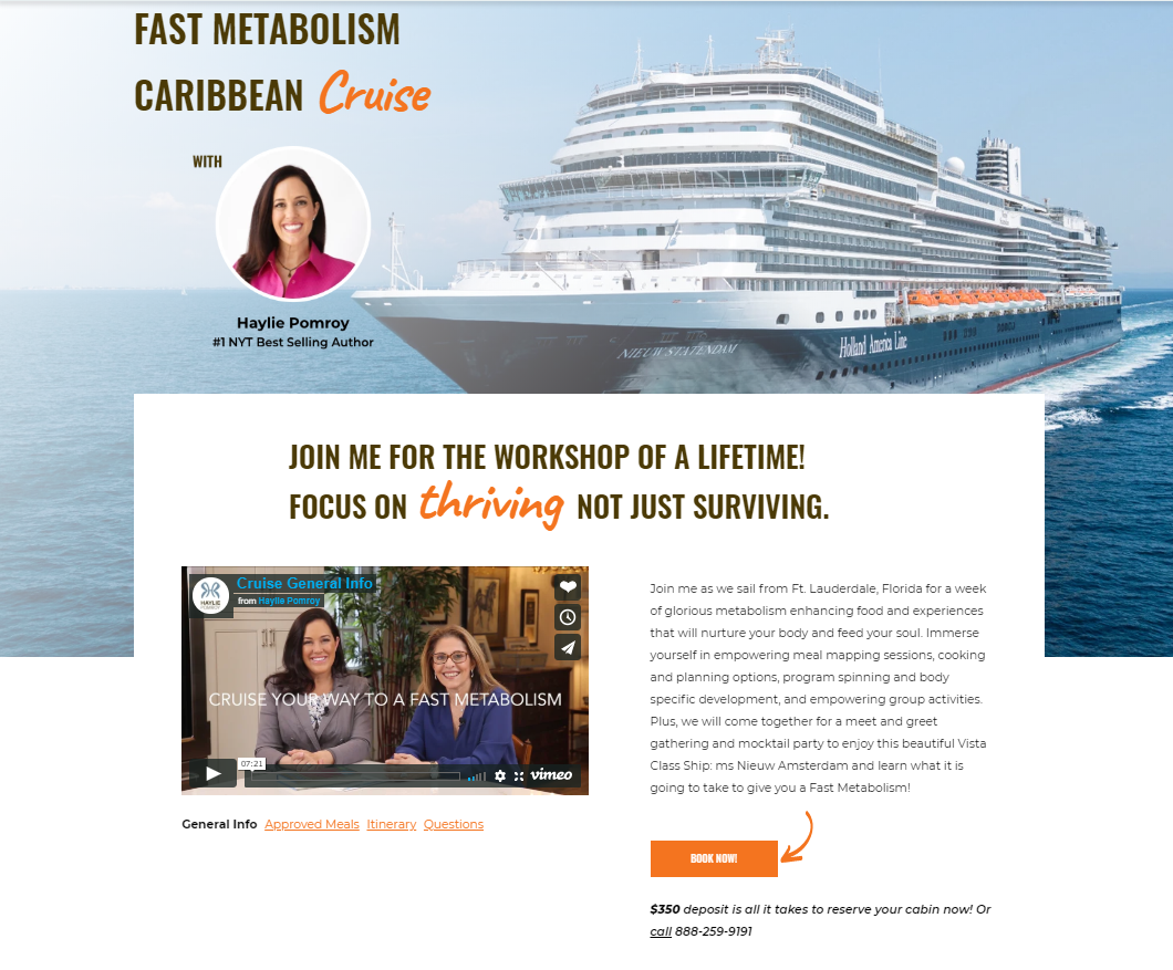 Haylie Pomroy Cruise Landing Page